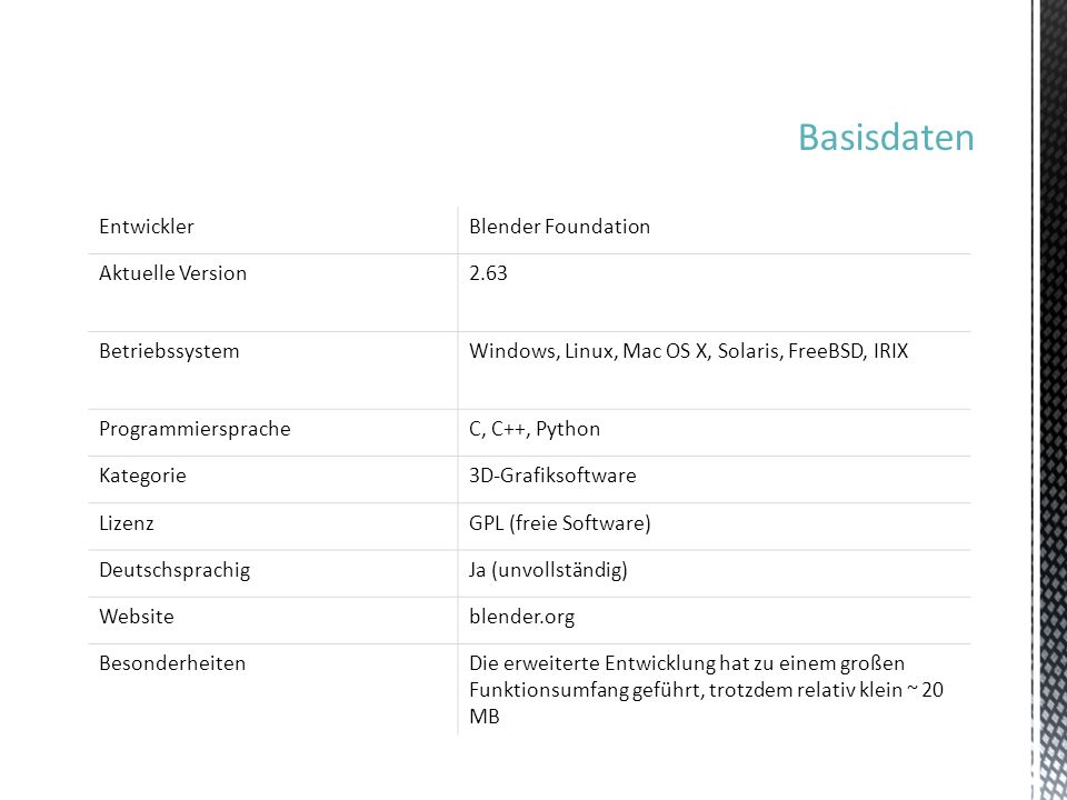 Basisdaten EntwicklerBlender Foundation Aktuelle Version2.63 BetriebssystemWindows, Linux, Mac OS X, Solaris, FreeBSD, IRIX ProgrammierspracheC, C++,