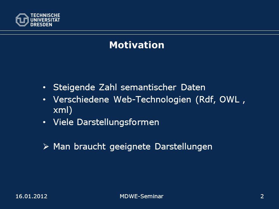 Steigende Zahl semantischer Daten Verschiedene Web-Technologien (Rdf, OWL, xml) Viele Darstellungsformen Man braucht geeignete Darstellungen MDWE-Seminar2 Motivation 16.01.2012
