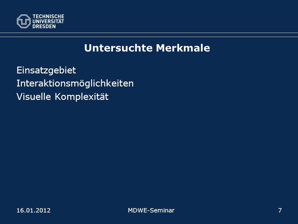 Untersuchte Merkmale Einsatzgebiet Interaktionsmöglichkeiten Visuelle Komplexität MDWE-Seminar716.01.2012