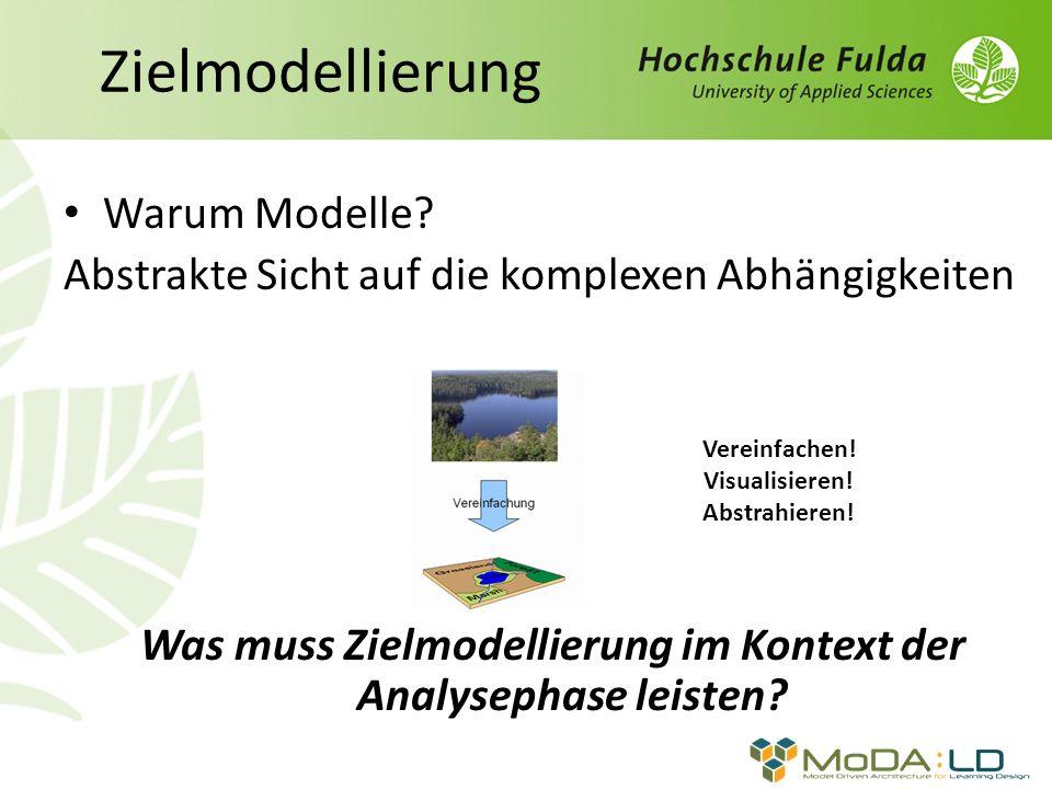 Zielmodellierung Warum Modelle.