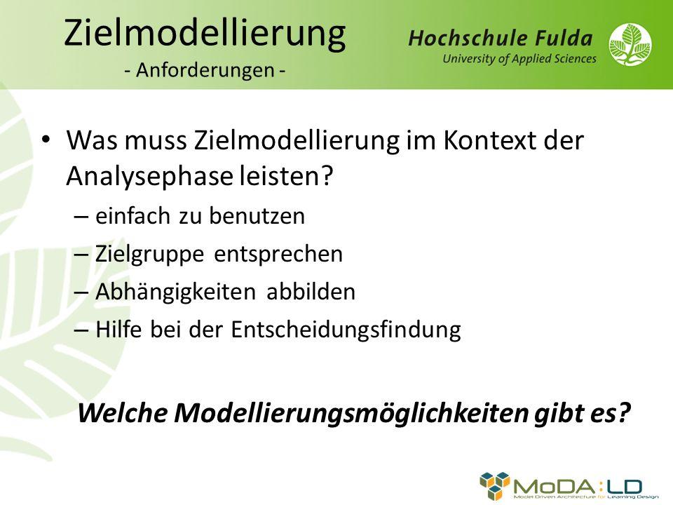 Zielmodellierung - Anforderungen - Was muss Zielmodellierung im Kontext der Analysephase leisten.