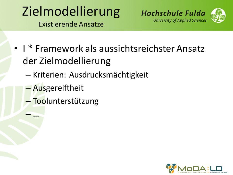 Zielmodellierung Existierende Ansätze I * Framework als aussichtsreichster Ansatz der Zielmodellierung – Kriterien: Ausdrucksmächtigkeit – Ausgereiftheit – Toolunterstützung – …