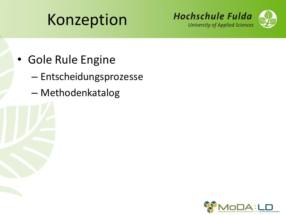 Gole Rule Engine – Entscheidungsprozesse – Methodenkatalog
