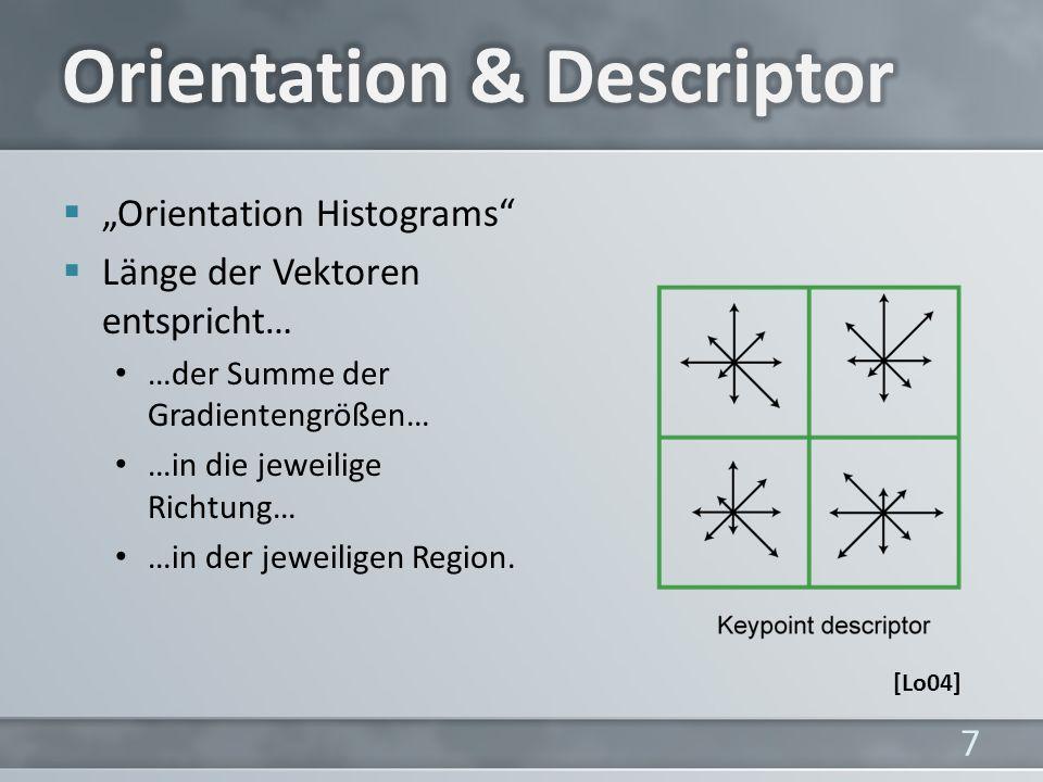Orientation Histograms Länge der Vektoren entspricht… …der Summe der Gradientengrößen… …in die jeweilige Richtung… …in der jeweiligen Region.