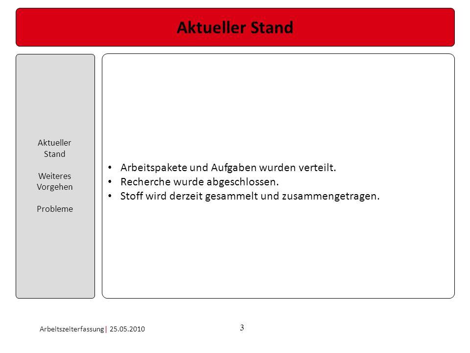 3 Aktueller Stand Aktueller Stand Weiteres Vorgehen Probleme Arbeitszeiterfassung| 25.05.2010 Arbeitspakete und Aufgaben wurden verteilt. Recherche wu
