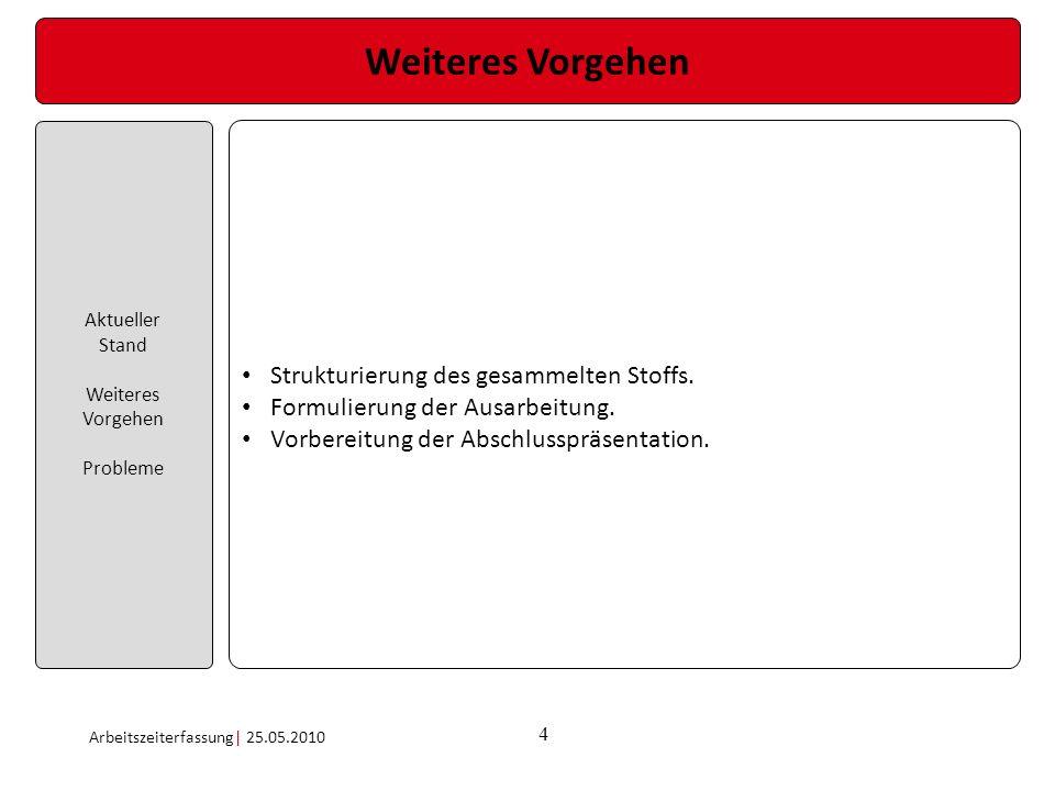 4 Weiteres Vorgehen Aktueller Stand Weiteres Vorgehen Probleme Arbeitszeiterfassung| 25.05.2010 Strukturierung des gesammelten Stoffs. Formulierung de