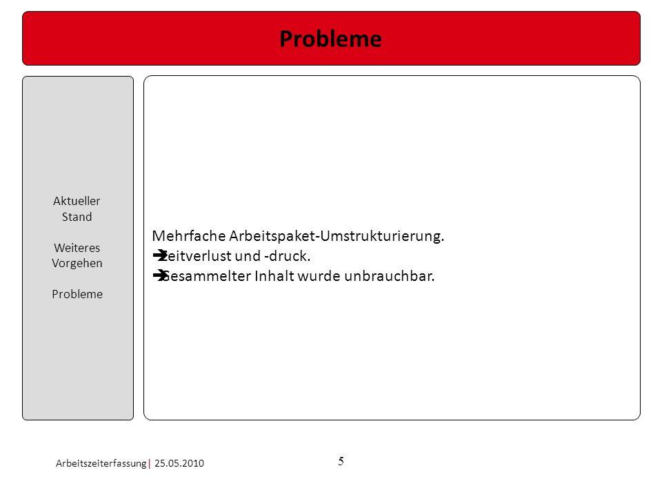 5 Probleme Aktueller Stand Weiteres Vorgehen Probleme Arbeitszeiterfassung| 25.05.2010 Mehrfache Arbeitspaket-Umstrukturierung. Zeitverlust und -druck