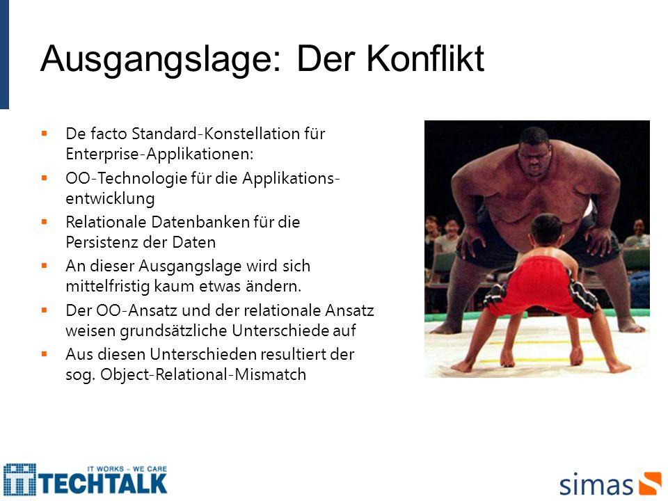 Ausgangslage: Der Konflikt De facto Standard-Konstellation für Enterprise-Applikationen: OO-Technologie für die Applikations- entwicklung Relationale