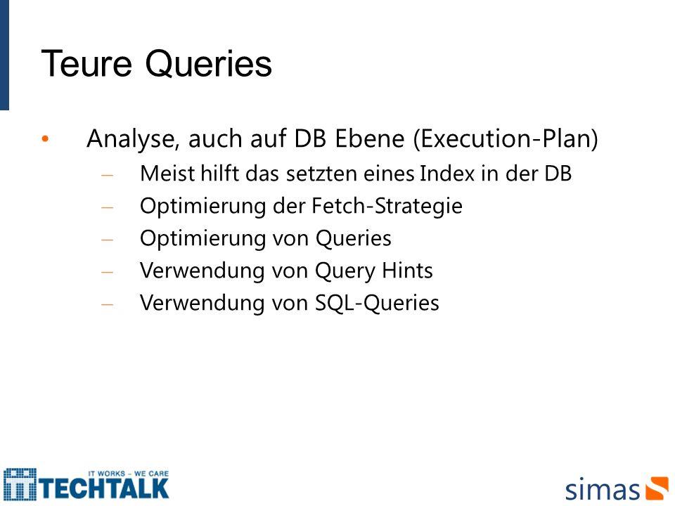 Teure Queries Analyse, auch auf DB Ebene (Execution-Plan) – Meist hilft das setzten eines Index in der DB – Optimierung der Fetch-Strategie – Optimier