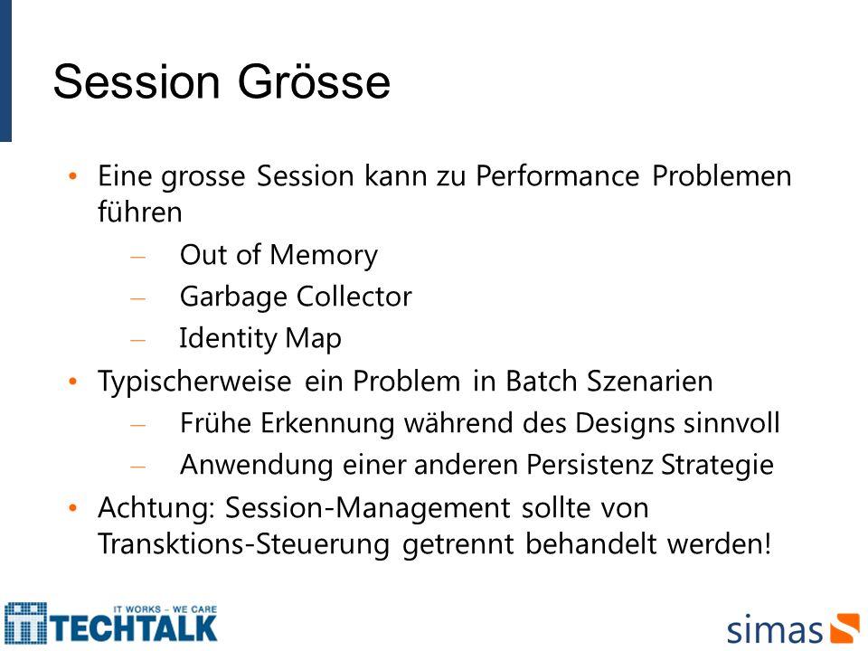 Session Grösse Eine grosse Session kann zu Performance Problemen führen – Out of Memory – Garbage Collector – Identity Map Typischerweise ein Problem