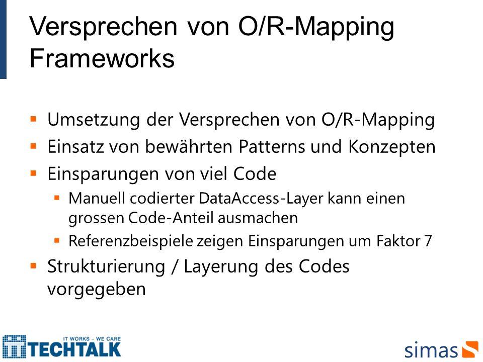 Versprechen von O/R-Mapping Frameworks Umsetzung der Versprechen von O/R-Mapping Einsatz von bewährten Patterns und Konzepten Einsparungen von viel Co