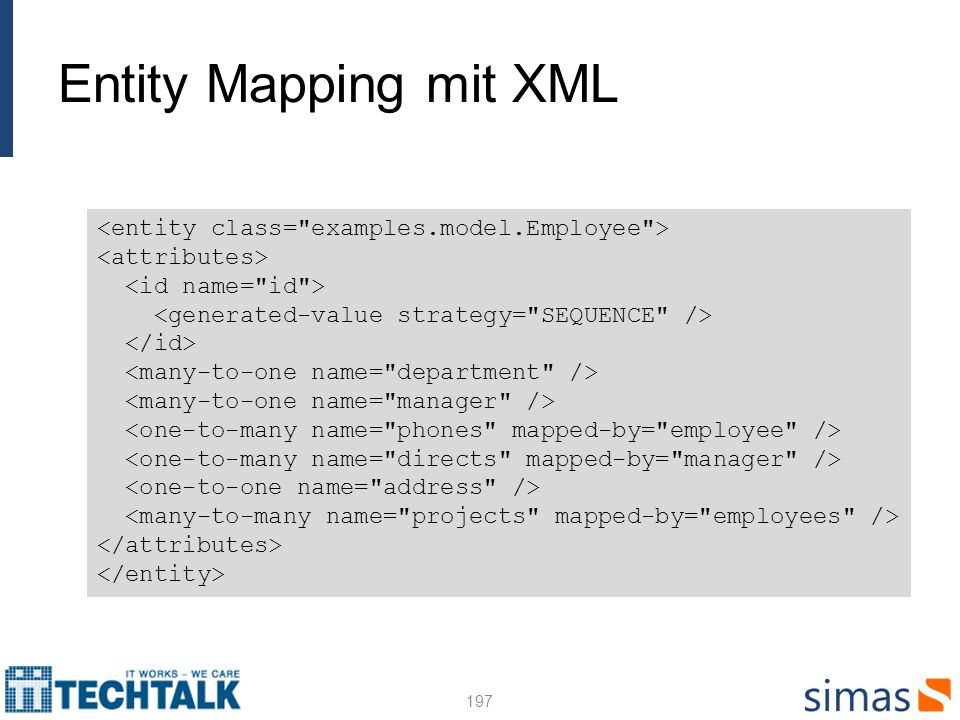 Entity Mapping mit XML 197