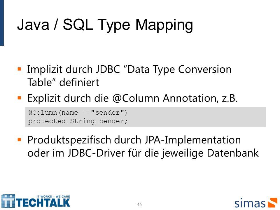 Java / SQL Type Mapping Implizit durch JDBC Data Type Conversion Table definiert Explizit durch die @Column Annotation, z.B. Produktspezifisch durch J