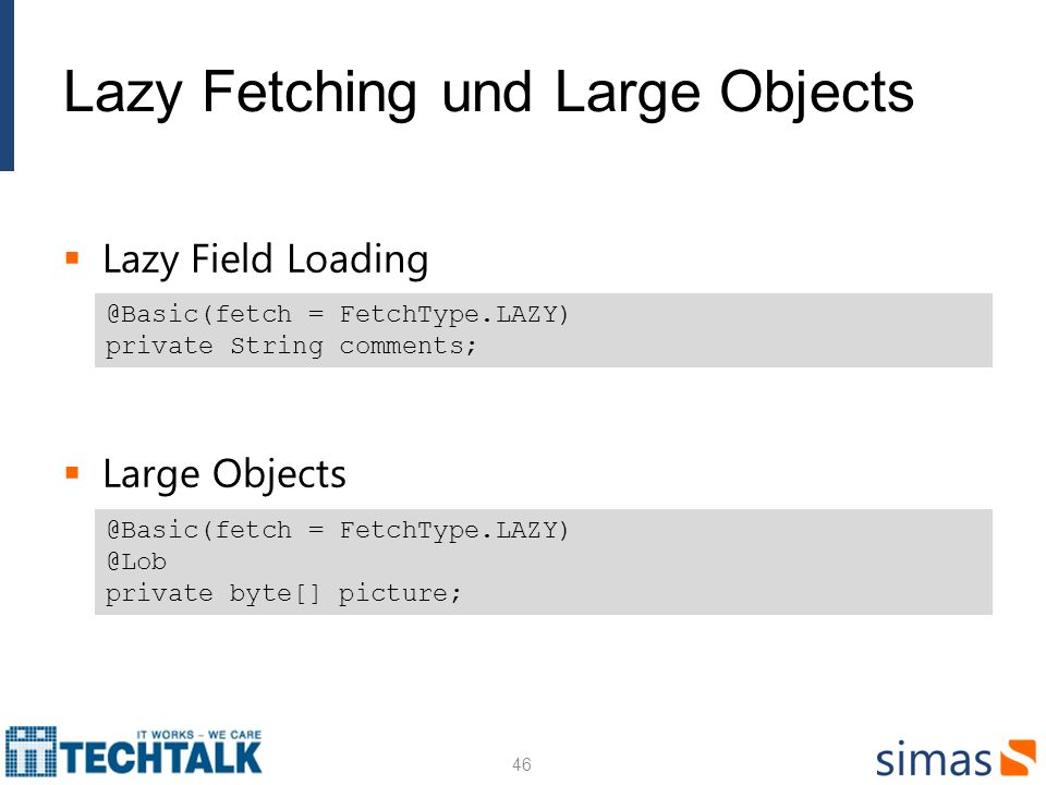 Lazy Fetching und Large Objects Lazy Field Loading Large Objects 46 @Basic(fetch = FetchType.LAZY) private String comments; @Basic(fetch = FetchType.LAZY) @Lob private byte[] picture;