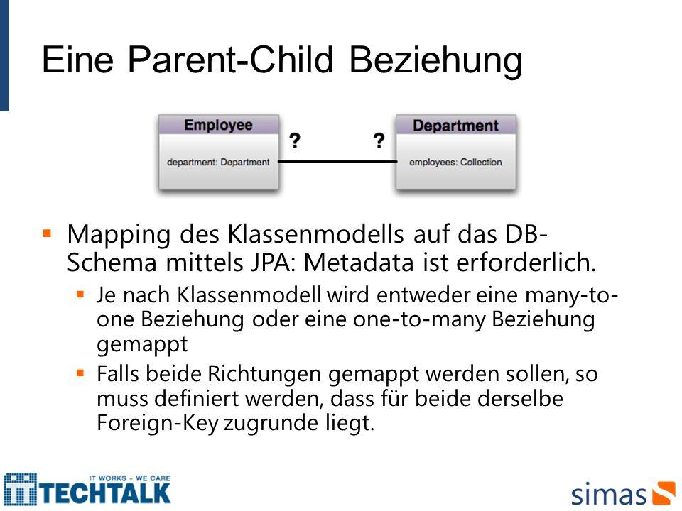 Eine Parent-Child Beziehung Mapping des Klassenmodells auf das DB- Schema mittels JPA: Metadata ist erforderlich. Je nach Klassenmodell wird entweder