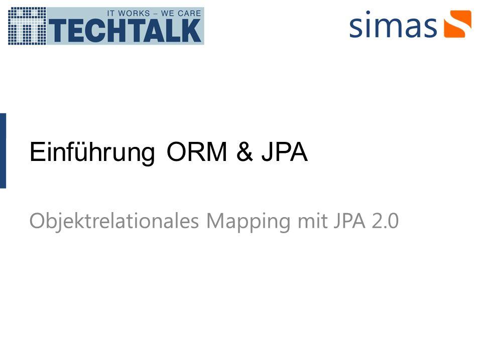 JPA – Java Persistence API JPA ist eine Bestrebung OR-Mapping mit Java zu standardisieren JPA ist ein Teil der EJB 3 Spezifikation welche vom JCP erarbeitet wurde JSR 220, final release: 2.5.2006 TopLink Essentials ist die Referenzimplementation Es gibt verschiedene JPA Implementationen, diese werden auch JPA Providers genannt JPA 2 ist eine eigenständge Spezifikation, welche auf JPA aufbaut und etliche zusätzliche Features bietet JSR 317, final release: 10.12.2009 EclipseLink ist die Referenzimplementation Die bekannten JPA Providers unterstützen alle JPA2