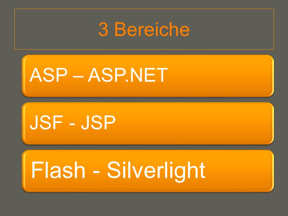 your name 3 Bereiche ASP – ASP.NETJSF - JSP Flash - Silverlight
