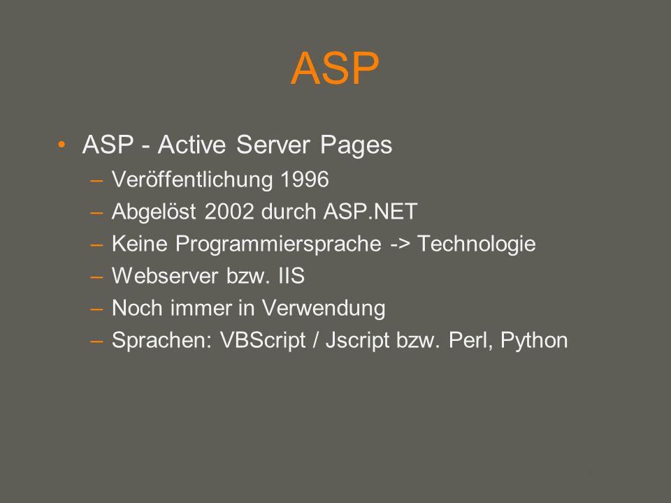 your name ASP ASP - Active Server Pages –Veröffentlichung 1996 –Abgelöst 2002 durch ASP.NET –Keine Programmiersprache -> Technologie –Webserver bzw.