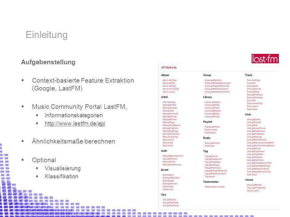 Aufgabenstellung Context-basierte Feature Extraktion (Google, LastFM) Music Community Portal LastFM, Informationskategorien http://www.lastfm.de/api Ähnlichkeitsmaße berechnen Optional Visualisierung Klassifikation Einleitung