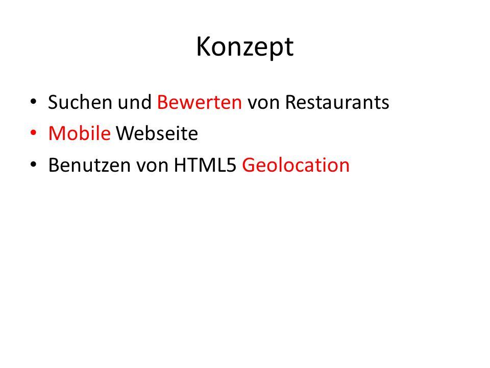 Konzept Suchen und Bewerten von Restaurants Mobile Webseite Benutzen von HTML5 Geolocation