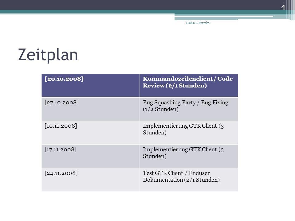 Zeitplan 4 Hahn & Dumbs [20.10.2008]Kommandozeilenclient / Code Review (2/1 Stunden) [27.10.2008]Bug Squashing Party / Bug Fixing (1/2 Stunden) [10.11.2008]Implementierung GTK Client (3 Stunden) [17.11.2008]Implementierung GTK Client (3 Stunden) [24.11.2008]Test GTK Client / Enduser Dokumentation (2/1 Stunden)