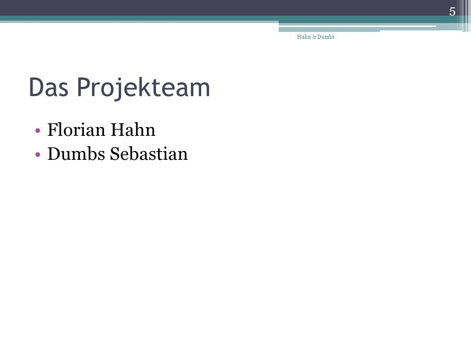 Das Projekteam Florian Hahn Dumbs Sebastian Hahn & Dumbs 5