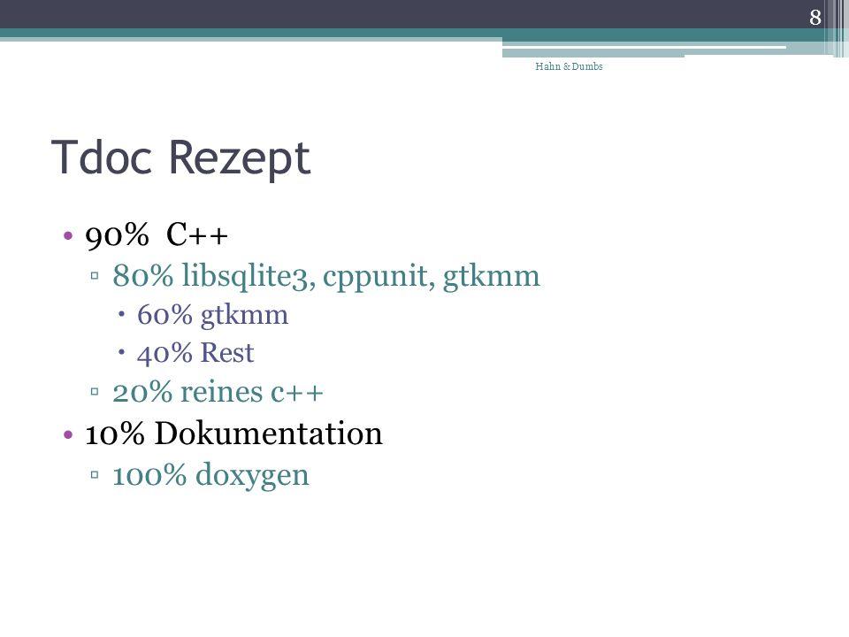 Tdoc Rezept 90% C++ 80% libsqlite3, cppunit, gtkmm 60% gtkmm 40% Rest 20% reines c++ 10% Dokumentation 100% doxygen 8 Hahn & Dumbs