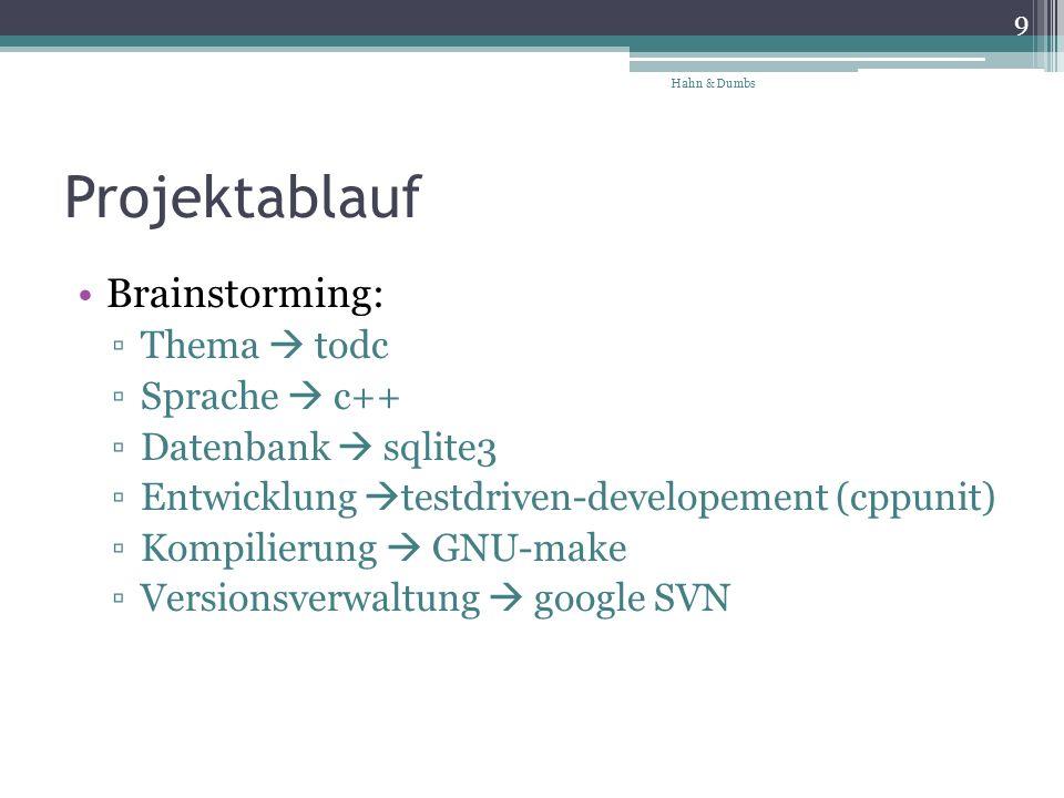 Projektablauf Brainstorming: Thema todc Sprache c++ Datenbank sqlite3 Entwicklung testdriven-developement (cppunit) Kompilierung GNU-make Versionsverwaltung google SVN 9 Hahn & Dumbs
