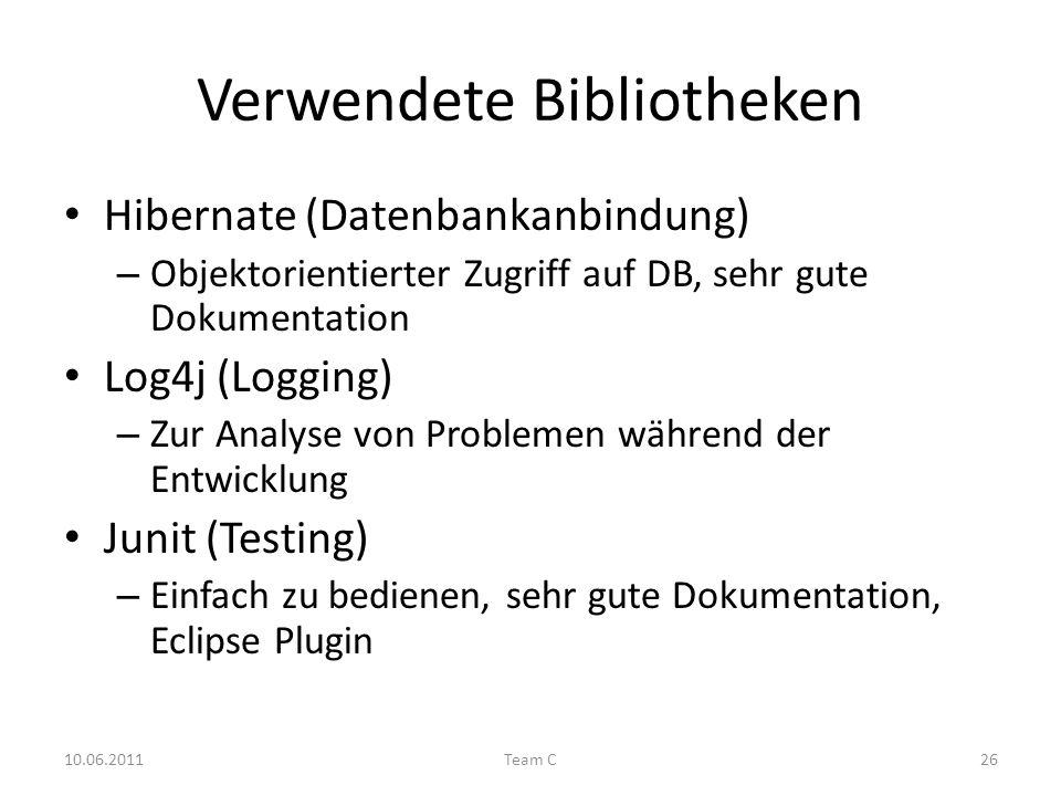 Verwendete Bibliotheken Hibernate (Datenbankanbindung) – Objektorientierter Zugriff auf DB, sehr gute Dokumentation Log4j (Logging) – Zur Analyse von Problemen während der Entwicklung Junit (Testing) – Einfach zu bedienen, sehr gute Dokumentation, Eclipse Plugin 10.06.2011Team C26