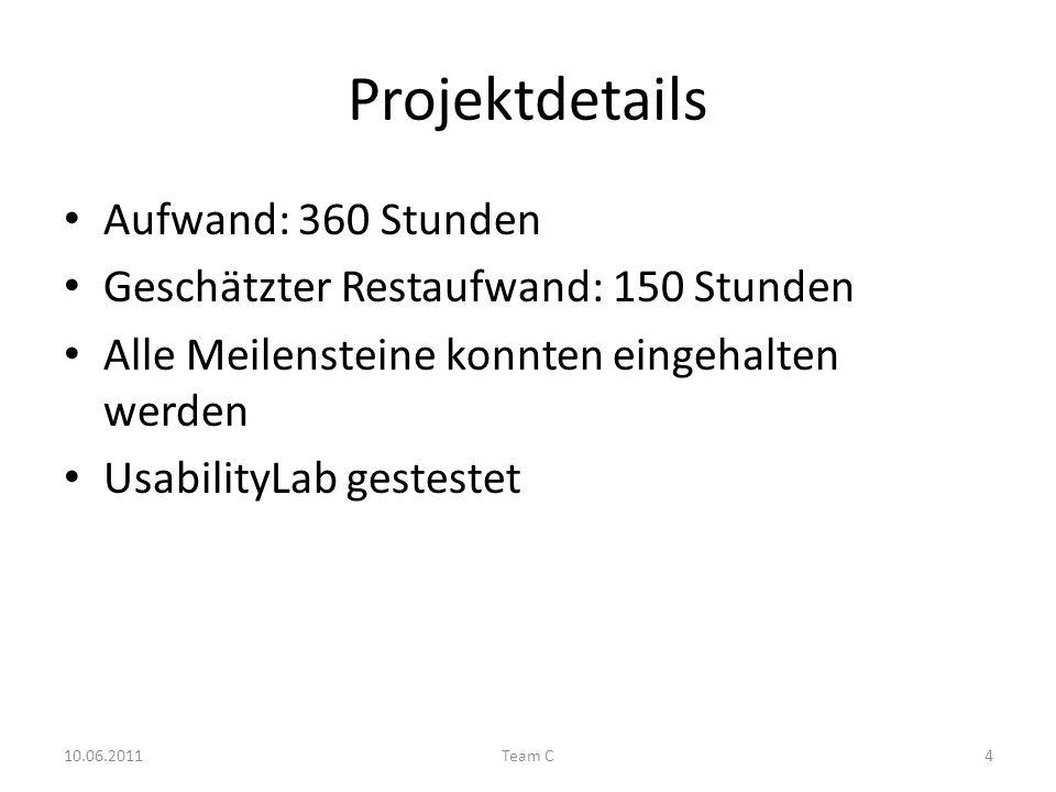 Projektdetails Aufwand: 360 Stunden Geschätzter Restaufwand: 150 Stunden Alle Meilensteine konnten eingehalten werden UsabilityLab gestestet 10.06.2011Team C4