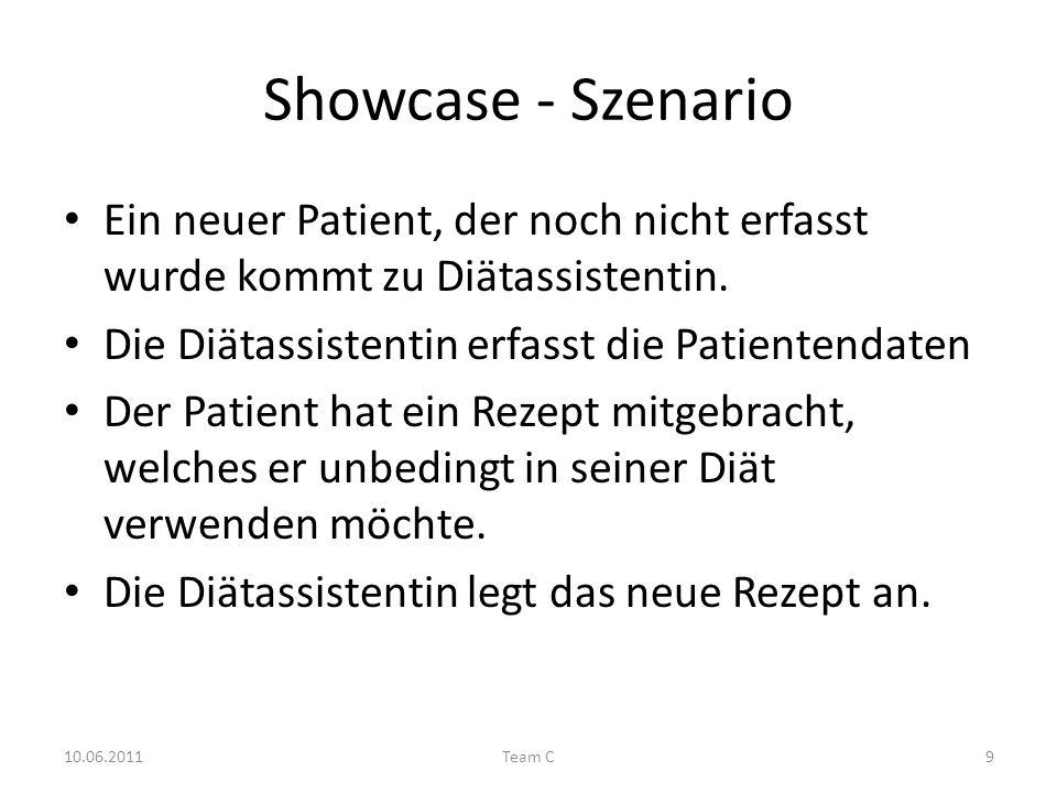 Showcase - Szenario Ein neuer Patient, der noch nicht erfasst wurde kommt zu Diätassistentin.