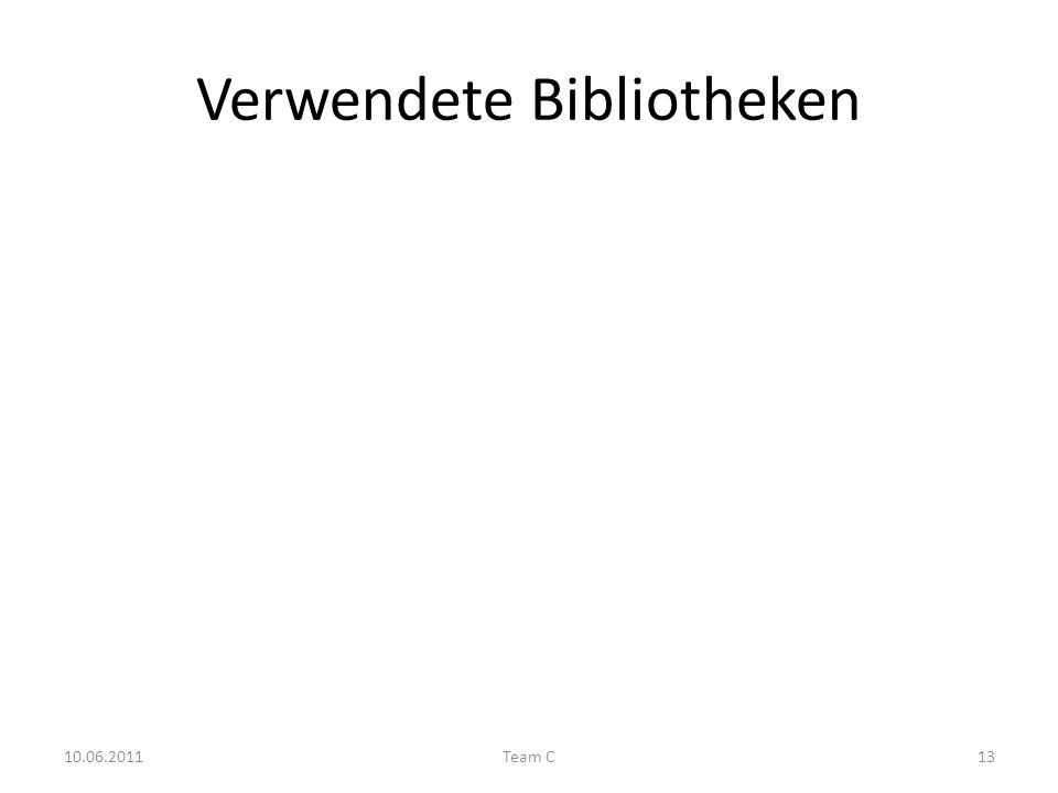 Verwendete Bibliotheken 10.06.2011Team C13