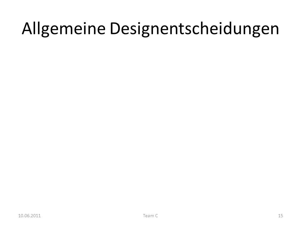 Allgemeine Designentscheidungen 10.06.2011Team C15