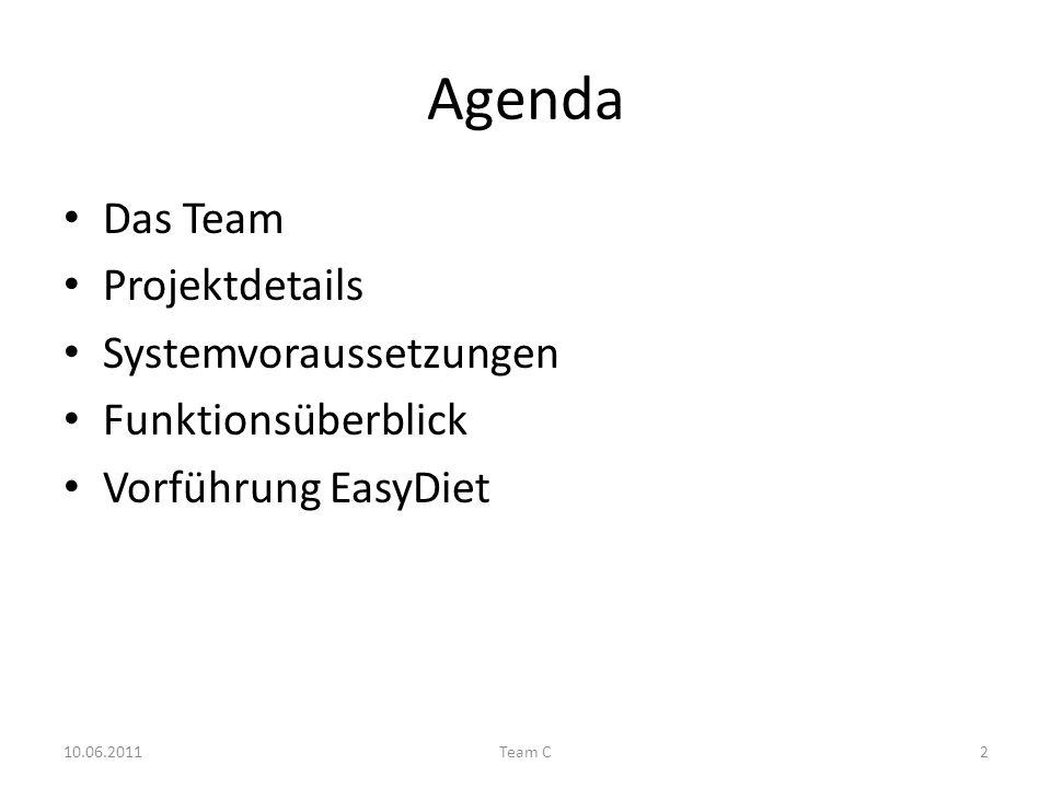 Agenda Das Team Projektdetails Systemvoraussetzungen Funktionsüberblick Vorführung EasyDiet 10.06.2011Team C2