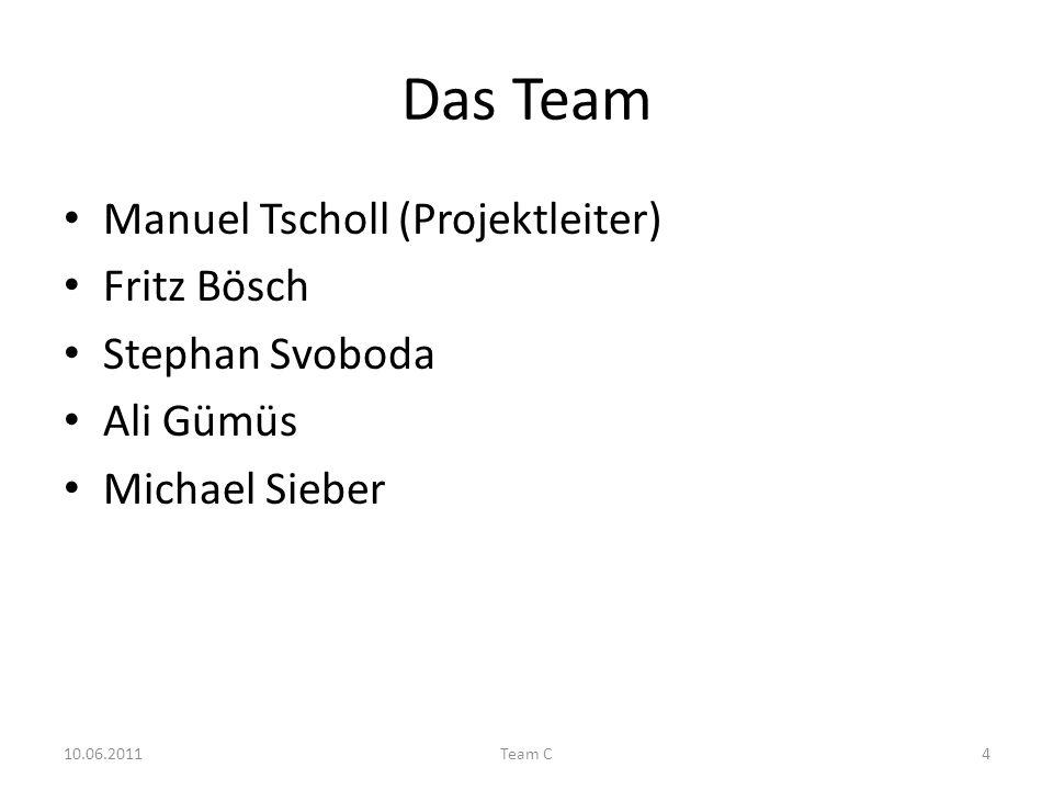Das Team Manuel Tscholl (Projektleiter) Fritz Bösch Stephan Svoboda Ali Gümüs Michael Sieber 10.06.2011Team C4