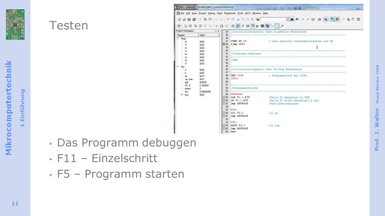Mikrocomputertechnik 1 Einführung Prof. J.