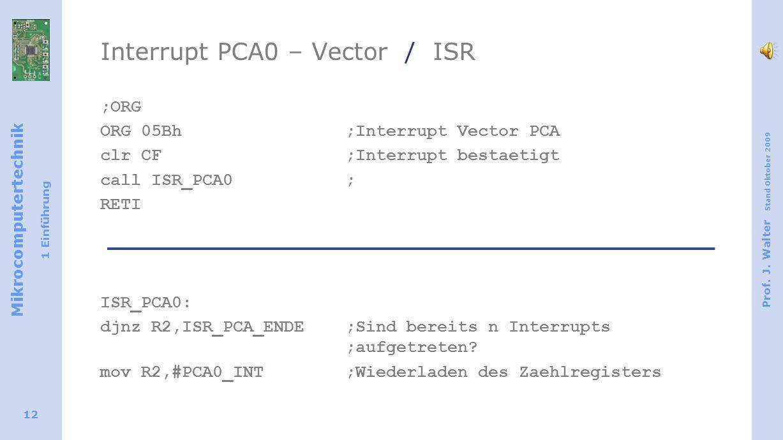 Mikrocomputertechnik 1 Einführung Prof. J. Walter Stand Oktober 2009 12 Interrupt PCA0 – Vector / ISR ;ORG ORG 05Bh;Interrupt Vector PCA clr CF;Interr