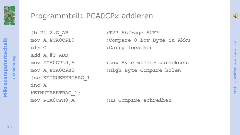 Mikrocomputertechnik 1 Einführung Prof. J. Walter Stand Oktober 2009 13 Programmteil: PCA0CPx addieren jb P1.2,C_AB ;T2? Abfrage AUF? mov A,PCA0CPL0;C