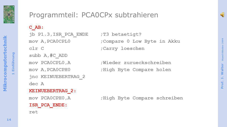 Mikrocomputertechnik 1 Einführung Prof. J. Walter Stand Oktober 2009 14 Programmteil: PCA0CPx subtrahieren C_AB: jb P1.3,ISR_PCA_ENDE;T3 betaetigt? mo