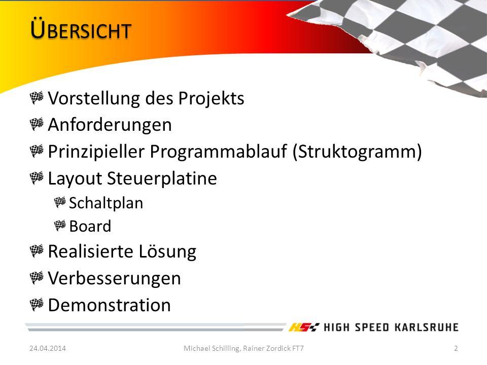 Vorstellung des Projekts Anforderungen Prinzipieller Programmablauf (Struktogramm) Layout Steuerplatine Schaltplan Board Realisierte Lösung Verbesseru