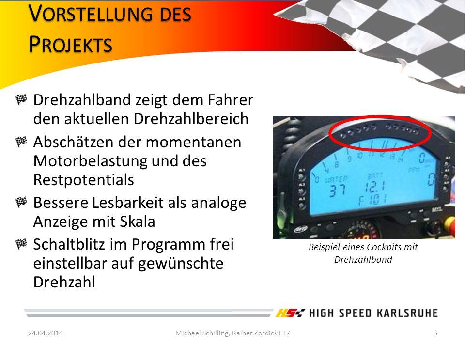 12V Bordspannung (Funktion muss auch bei schwacher Batterie gewährleistet sein!) 12V Rechteck Drehzahlsignal vom Steuergerät Anschluss vorläufig an alte Euro_535 Karte Drehzahlanzeige im Bereich von 8500-12000 1/min Für Laboraufbau Anschluss für Funktionsgenerator 2 Platinen Layout aus Einbaugründen 24.04.2014Michael Schilling, Rainer Zordick FT74