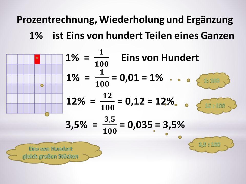 Prozentrechnung, Wiederholung und Ergänzung 1% ist Eins von hundert Teilen eines Ganzen