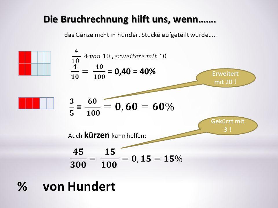 Die Bruchrechnung hilft uns, wenn……. das Ganze nicht in hundert Stücke aufgeteilt wurde….. Erweitert mit 20 ! Auch kürzen kann helfen: Gekürzt mit 3 !