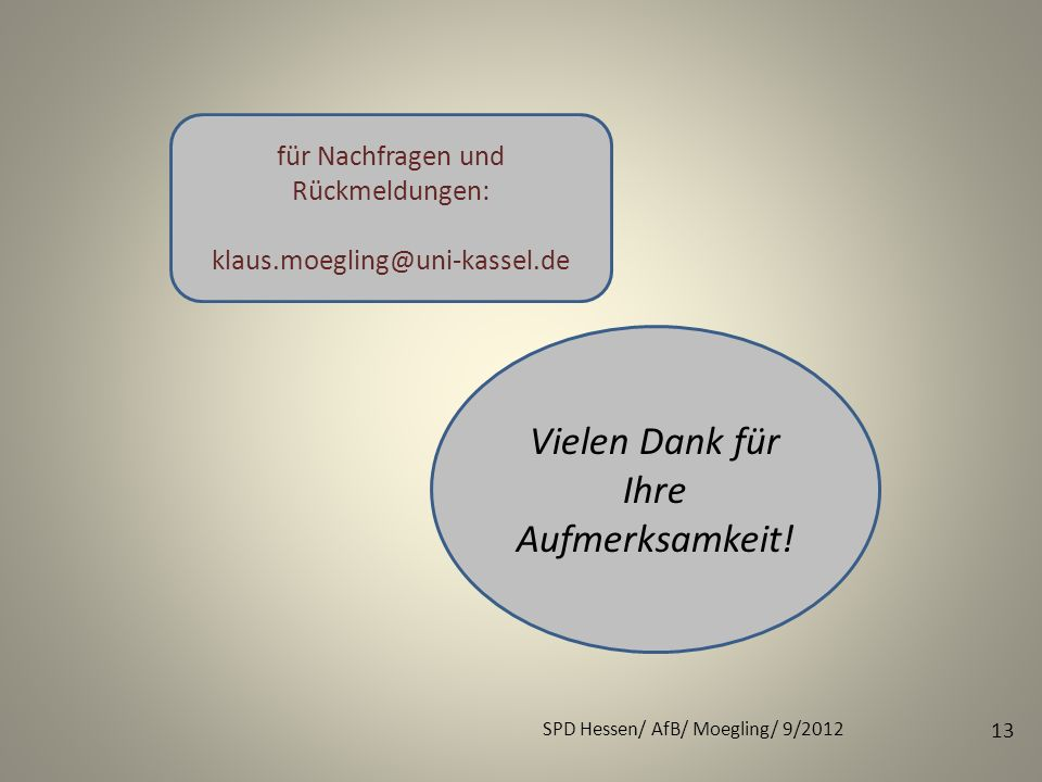 SPD Hessen/ AfB/ Moegling/ 9/2012 13 Vielen Dank für Ihre Aufmerksamkeit! für Nachfragen und Rückmeldungen: klaus.moegling@uni-kassel.de