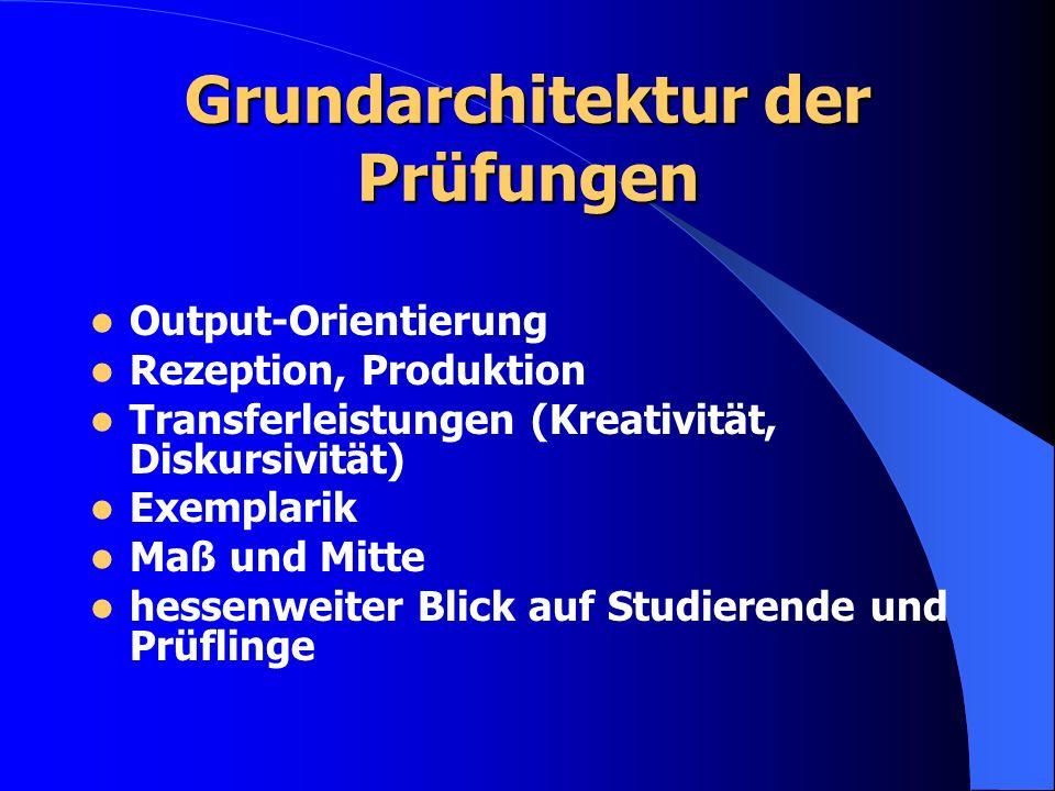 Grundarchitektur der Prüfungen Output-Orientierung Rezeption, Produktion Transferleistungen (Kreativität, Diskursivität) Exemplarik Maß und Mitte hessenweiter Blick auf Studierende und Prüflinge