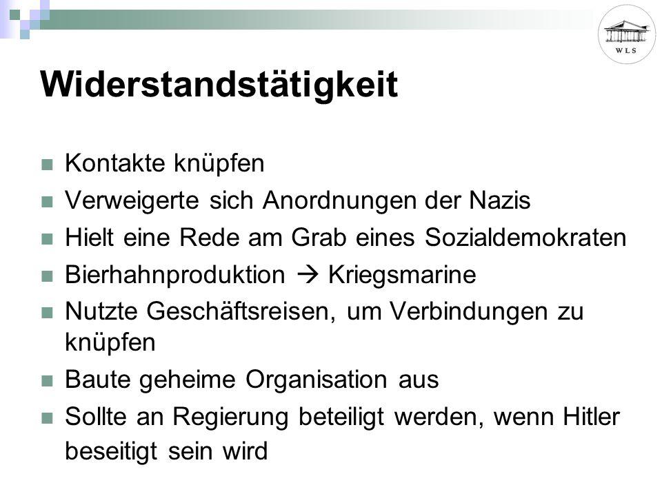 Widerstandstätigkeit Kontakte knüpfen Verweigerte sich Anordnungen der Nazis Hielt eine Rede am Grab eines Sozialdemokraten Bierhahnproduktion Kriegsmarine Nutzte Geschäftsreisen, um Verbindungen zu knüpfen Baute geheime Organisation aus Sollte an Regierung beteiligt werden, wenn Hitler beseitigt sein wird