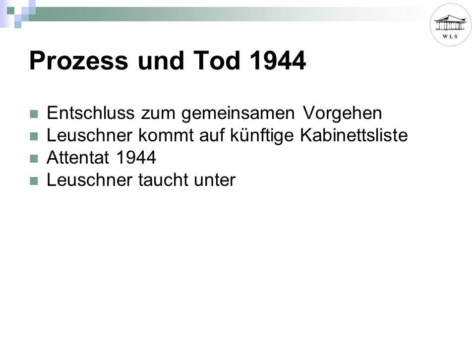 Prozess und Tod 1944 Entschluss zum gemeinsamen Vorgehen Leuschner kommt auf künftige Kabinettsliste Attentat 1944 Leuschner taucht unter