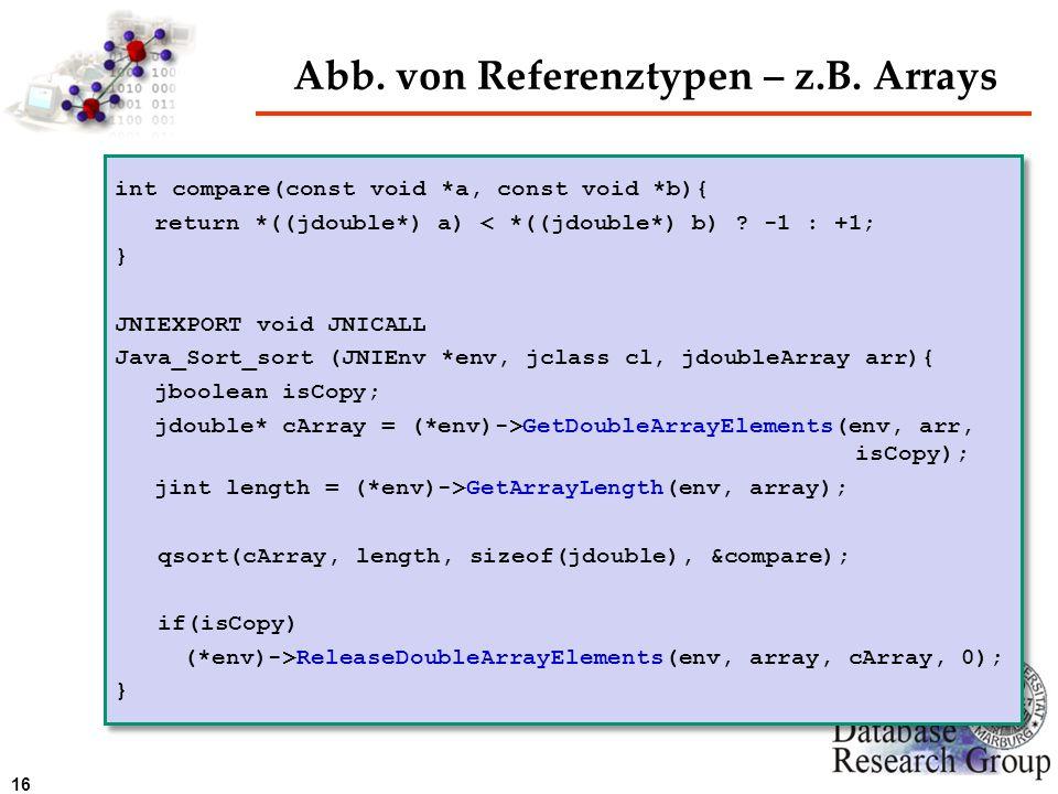 16 Abb. von Referenztypen – z.B. Arrays int compare(const void *a, const void *b){ return *((jdouble*) a) < *((jdouble*) b) ? -1 : +1; } JNIEXPORT voi