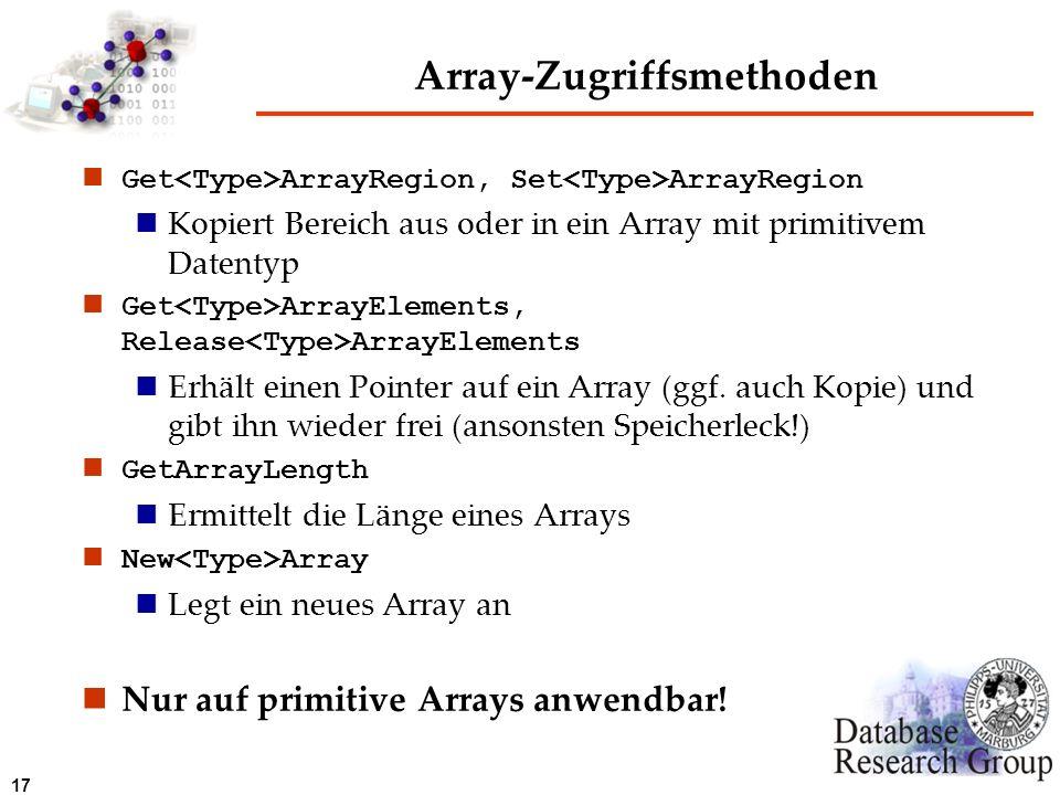 17 Array-Zugriffsmethoden Get ArrayRegion, Set ArrayRegion Kopiert Bereich aus oder in ein Array mit primitivem Datentyp Get ArrayElements, Release Ar