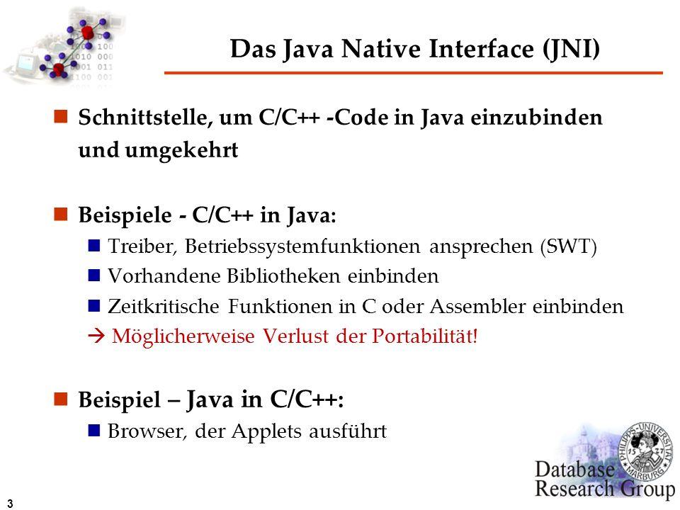 3 Das Java Native Interface (JNI) Schnittstelle, um C/C++ -Code in Java einzubinden und umgekehrt Beispiele - C/C++ in Java: Treiber, Betriebssystemfu